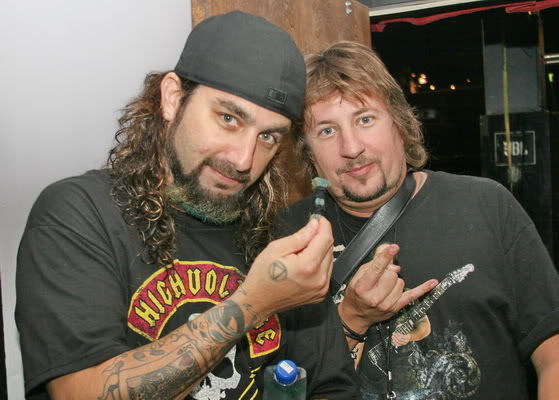 """Mike Portnoy and my friend Taylor who got the coveted """"beard""""!!"""